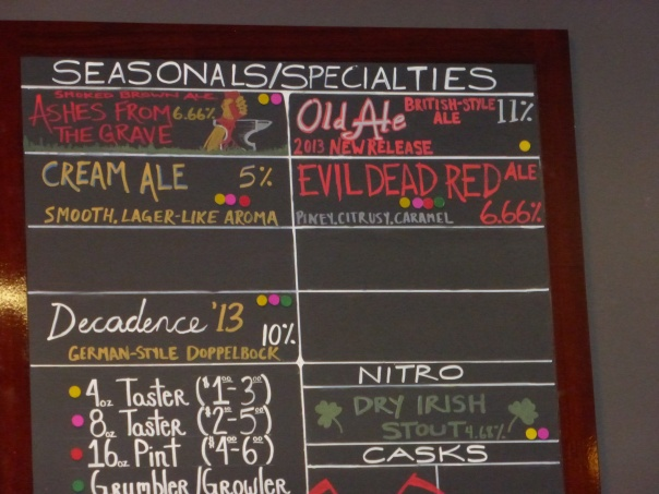Seasonal Beers at Alesmith on October 28, 2013.