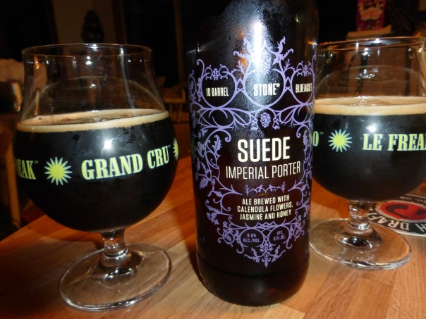 Stone Suede Imperial Porter split nicely in two Green Flash glasses.
