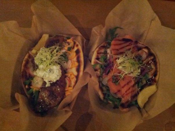 Lamb and Salmon flatbread sandwiches.