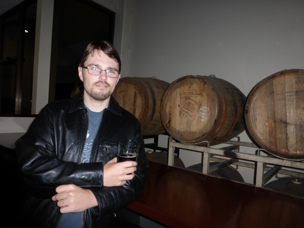 Me enjoying some barrel aged Nut Brown.