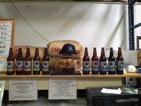 Bottles on display.