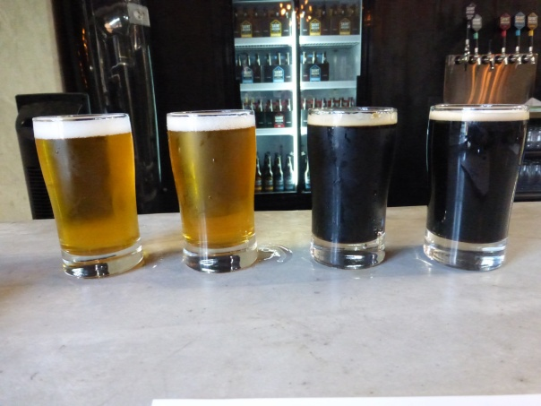 Left to right, IPA, Double IPA, Stout, Cask Stout.