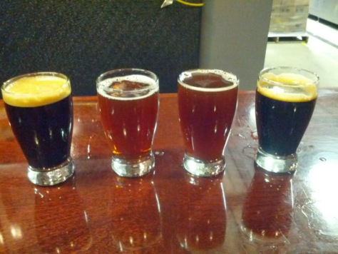 Left to right, Cask Speedway Barrel Aged, Barrel Aged Grand Cru, Barrel Aged Old Numbskull, and Barrel Aged Speedway on Tap.