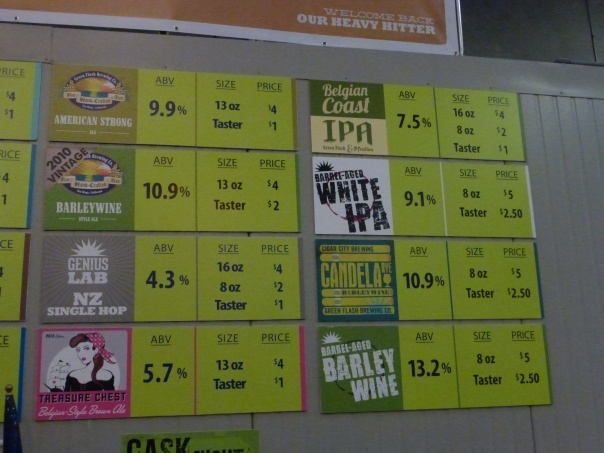A few specialty beers that were available on tap.