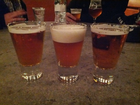 Palate Wrecker (left), Palate Wrecker Cask (center), Double Columbus (right)