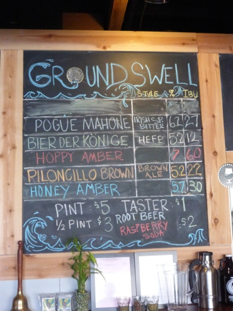 Groundswell Beer selection as of 1/4/14.